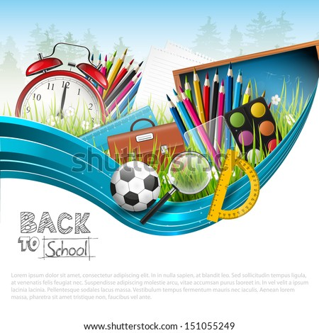 Back to school - vector background with copyspace  - stock vector