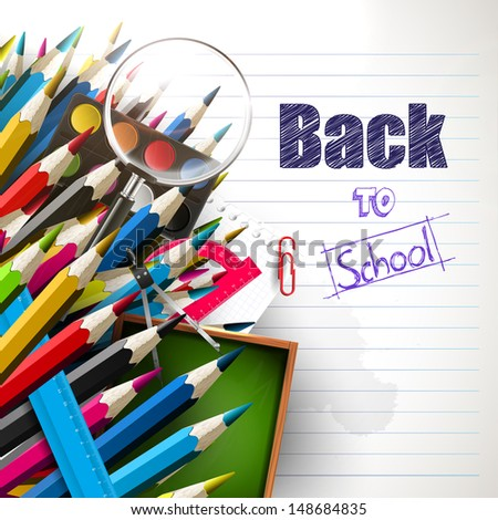 Back to school - vector background with school supplies - stock vector