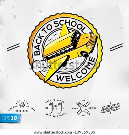 Back to school, vector Eps10 illustration. - stock vector