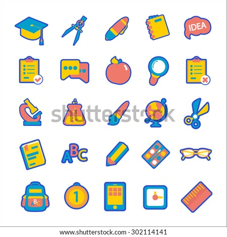 Back to school vector icon set