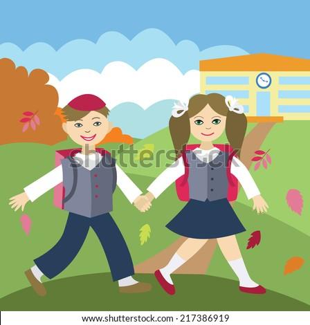 Back to school (vector illustration, flat concept) - stock vector