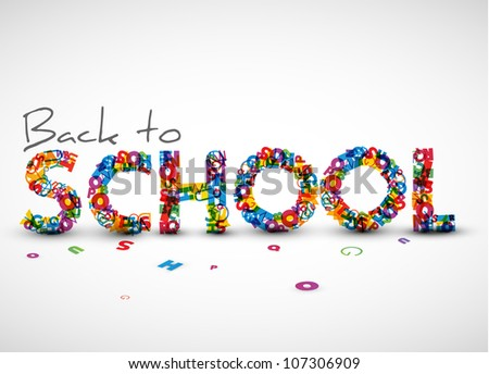 Back to school vector illustration made from letters - stock vector