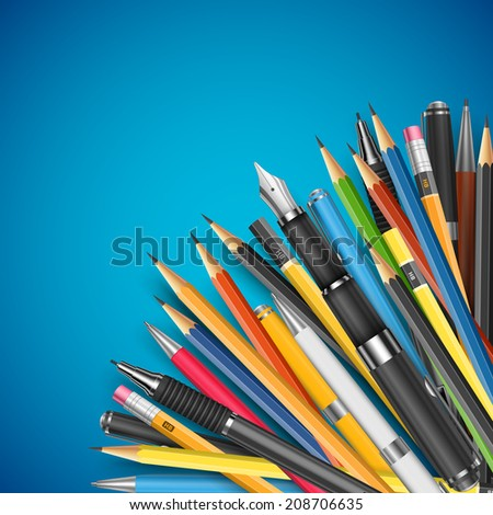 Back to school vector illustration. Mass pencils and pens composition with space for your text - stock vector