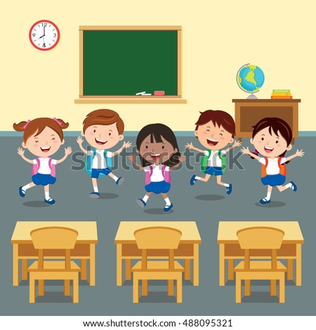 Back to school. Vector illustration of happy student in classroom.