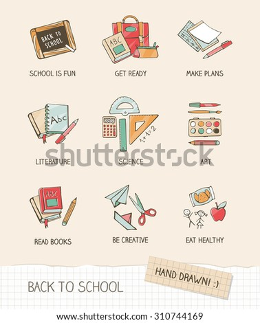 Back to school vector illustration on notebook paper, hand drawn school supplies, books, stationery - stock vector
