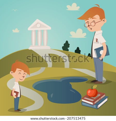 Back To School vector illustration with a cute little boy with a textbook under his arm standing on a path leading to a college building on a hilltop watched by his teacher as he walks to school - stock vector