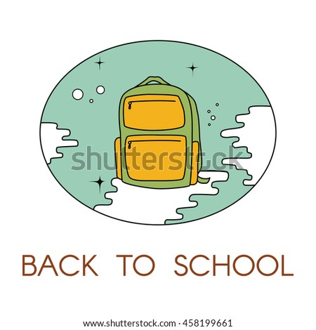 Back to school - vector illustration with backpack. For logo, web, print. - stock vector