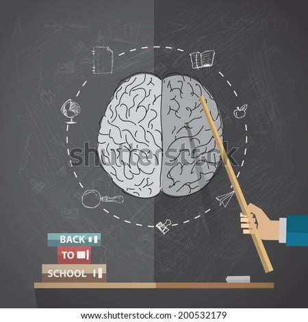 Back to school, vector illustration with brain on blackboard. - stock vector