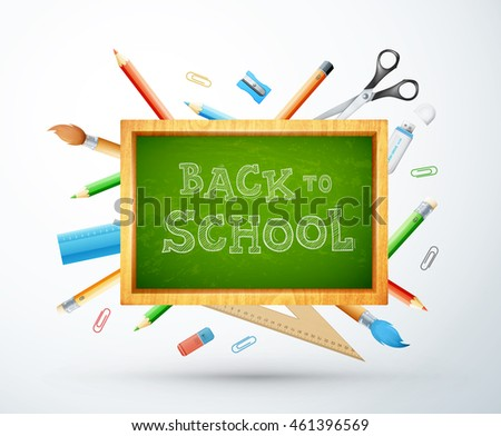 Back to school vector illustration with chalk board, pencil, ruller, objects. eps10