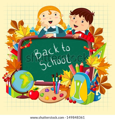 Back to school. Vector illustration with children and school supplies.  - stock vector