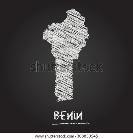 Back to school vector map of Benin hand drawn with chalk on a blackboard. Chalkboard scribble in childish style. White chalk texture on black background - stock vector