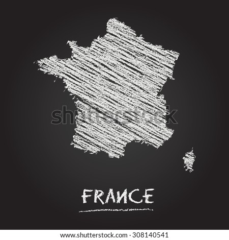 Back to school vector map of France hand drawn with chalk on a blackboard. Chalkboard scribble in childish style. White chalk texture on black background - stock vector