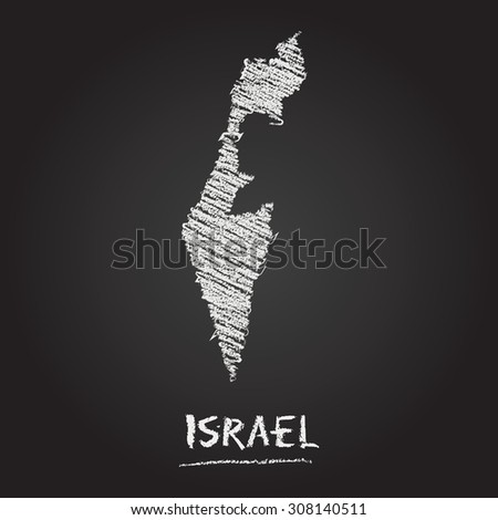 Back to school vector map of Israel hand drawn with chalk on a blackboard. Chalkboard scribble in childish style. White chalk texture on black background - stock vector