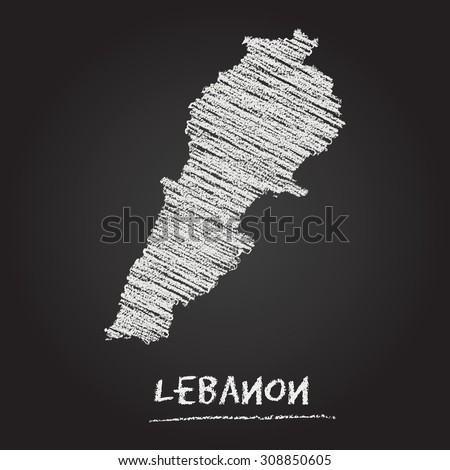 Back to school vector map of Lebanon hand drawn with chalk on a blackboard. Chalkboard scribble in childish style. White chalk texture on black background - stock vector
