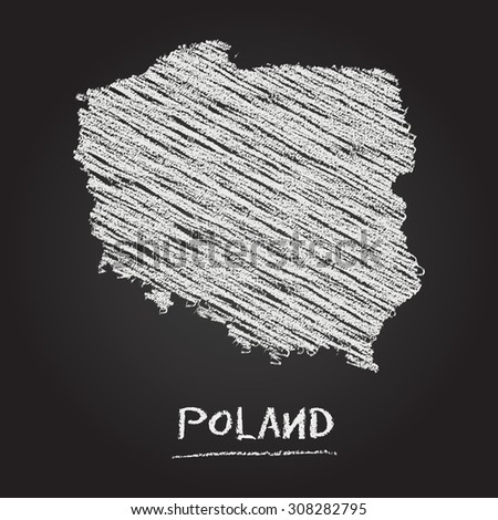 Back to school vector map of Poland hand drawn with chalk on a blackboard. Chalkboard scribble in childish style. White chalk texture on black background - stock vector