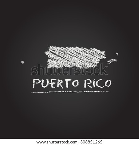 Back to school vector map of Puerto Rico hand drawn with chalk on a blackboard. Chalkboard scribble in childish style. White chalk texture on black background - stock vector