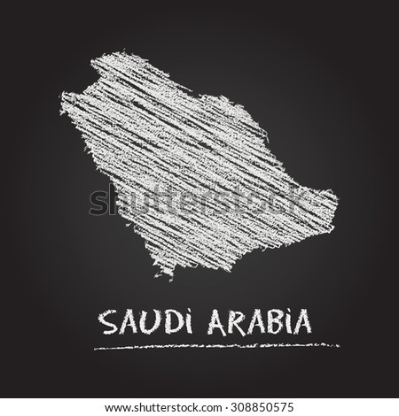 Back to school vector map of Saudi Arabia hand drawn with chalk on a blackboard. Chalkboard scribble in childish style. White chalk texture on black background - stock vector