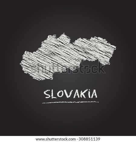 Back to school vector map of Slovakia hand drawn with chalk on a blackboard. Chalkboard scribble in childish style. White chalk texture on black background - stock vector