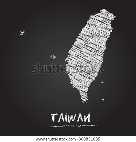 Back to school vector map of Taiwan hand drawn with chalk on a blackboard. Chalkboard scribble in childish style. White chalk texture on black background - stock vector