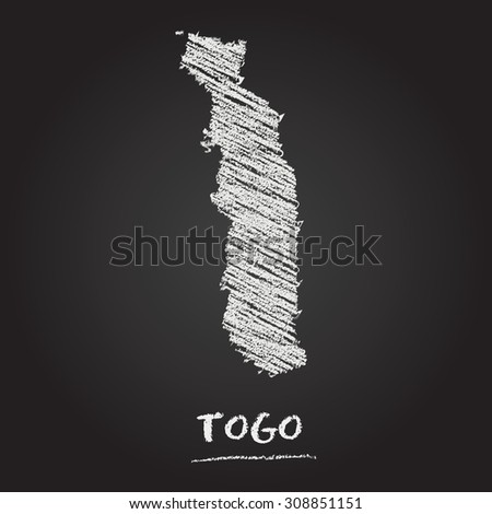 Back to school vector map of Togo hand drawn with chalk on a blackboard. Chalkboard scribble in childish style. White chalk texture on black background - stock vector