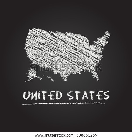 Back to school vector map of United States hand drawn with chalk on a blackboard. Chalkboard scribble in childish style. White chalk texture on black background - stock vector