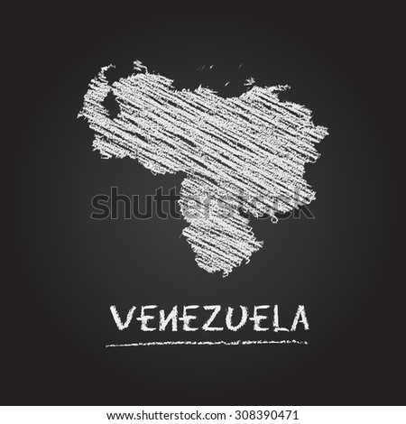 Back to school vector map of Venezuela hand drawn with chalk on a blackboard. Chalkboard scribble in childish style. White chalk texture on black background - stock vector