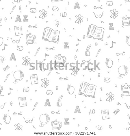 Back to school vector seamless pattern background in pencil sketch style