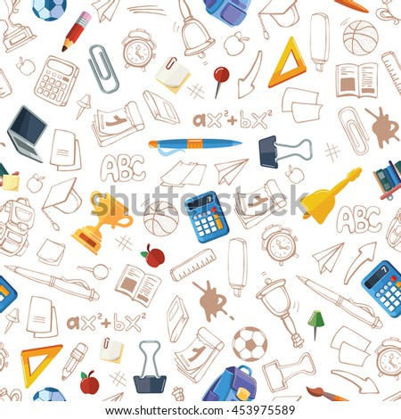 Back to School. vector seamless pattern with hand drawn of school elements isolate on white background