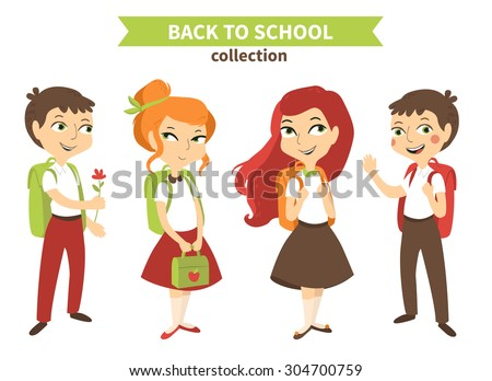 Back to school vector set with standing students (boys and girls) - stock vector