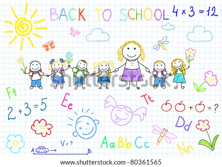 Back to school. Vector sketches with happy pupils and teacher. Sketch on notebook page - stock vector