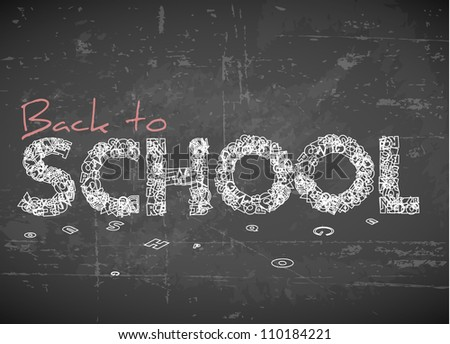 Back to school vector white illustration on chalkboard