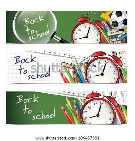 Back to school - vertical banners - stock vector
