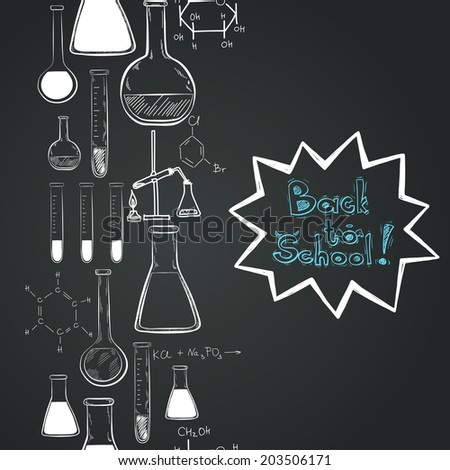 Back to school vertical seamless pattern. Notebook doodles with chemical formulas, flasks and chemical reagents on chalkboard background. Hand drawn illustration. - stock vector