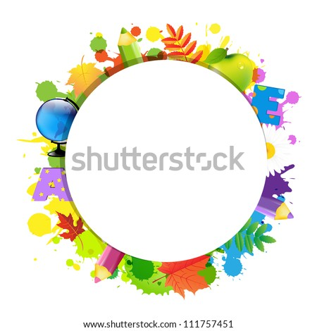 Back To School With Circle, Isolated On White Background, Vector Illustration - stock vector