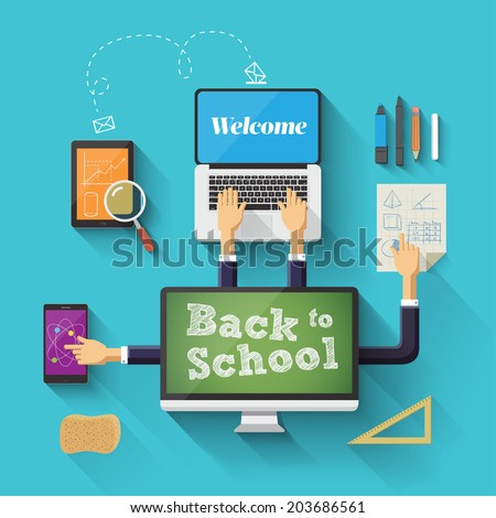 Back to school with devices. Vector illustration - stock vector