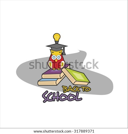 Back to school with owl illustration - stock vector