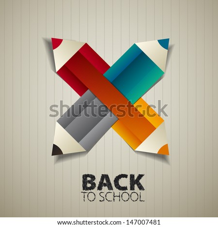 Back to school with paper pencils, vector illustration - stock vector