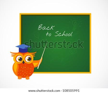Back to School with smart owl near blackboard - stock vector