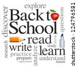 Back to School Word Cloud. Read, write, learn, discover, explore, study, practice. Big red apple for the teacher. Isolated on white background. For education, literacy, scrapbook projects. EPS8. - stock vector