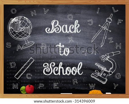 Back to School written on a black chalkboard. Vector illustration. Easy to edit.