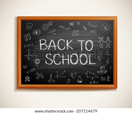 Back to school written on blackboard - stock vector
