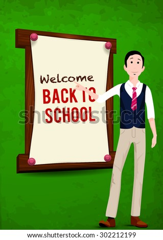 Back to school, written on blackboard with chalk, vector  - stock vector