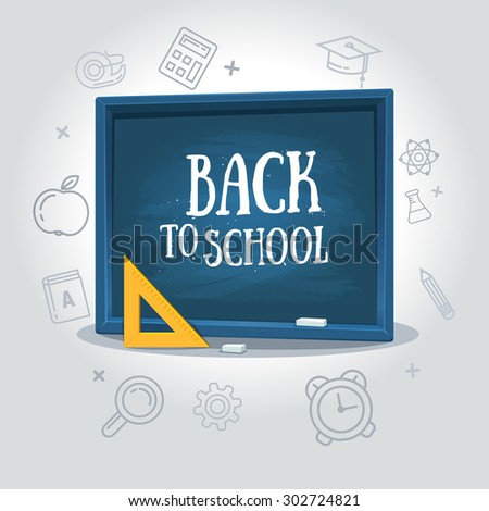 Back to school, written on blackboard with chalk, vector illustration. Grey background to line icon school - stock vector