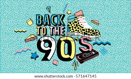 Back to the 90's. Memphis style poster, invitation card and banner with geometric elements, sneakers and tape cassette. Vector illustration in trendy 80s-90s Memphis style.