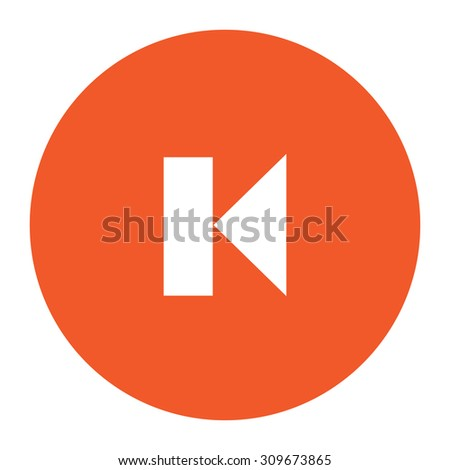 Back Track arrow Media player control button. Flat white symbol in the orange circle. Vector illustration icon - stock vector