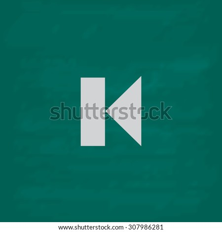 Back Track arrow Media player control button. Icon. Imitation draw with white chalk on green chalkboard. Flat Pictogram and School board background. Vector illustration symbol - stock vector