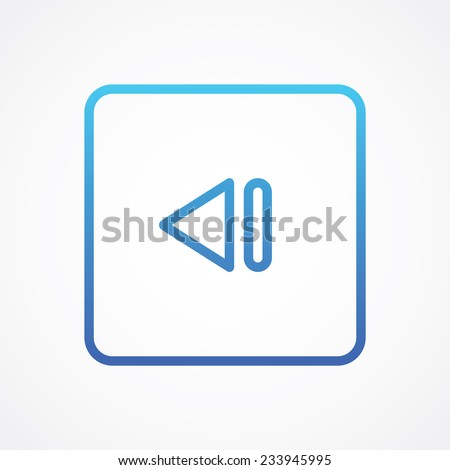 Back Track arrow Media player control rounded button for web, site, mobile, application. Vector illustration. Simple flat metro style - stock vector