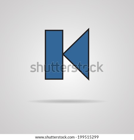 Back track web icon with shadow. Media player. - stock vector