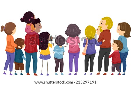 Back View Illustration Featuring Groups of Families Watching an Event - stock vector