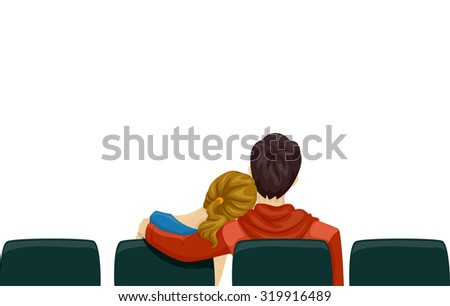 Back View Illustration of a Young Couple on a Movie Date - stock vector